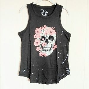 Chaser Skull💀 with Pink Flowers🌸 Tank NWT